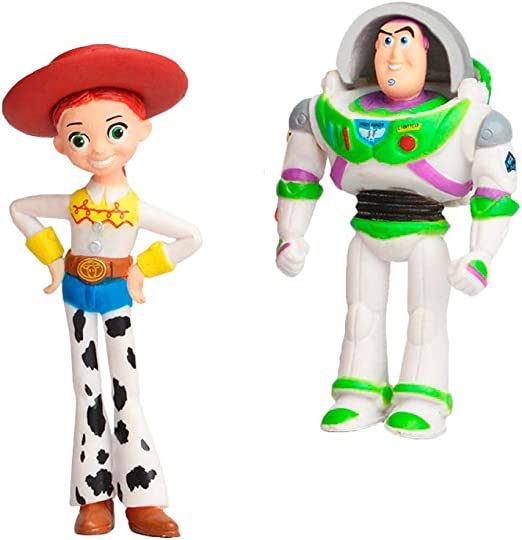 Set of 7 Action Figures with Woody Toy Story Toys Cake Topper Set for Birthday Buzz and Rex Fun Party Supplies for Toddlers