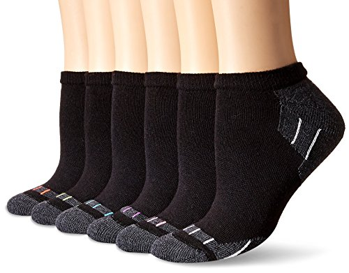 Hanes Women's 6-Pack Sport Cool Comfort No Show, Black/Dark Charcoal Heather Assortment, 5-9