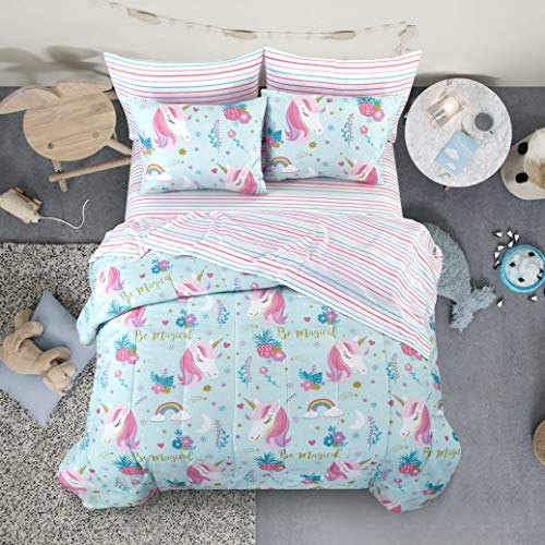 Heritage Kids Kids and Toddler Ultra-Soft Sleepy Unicorn and Rainbow Easy-Wash Microfiber 5-Piece Bed in A Bag Set, Twin, Blue (Twin Size Toddler Girl Bedding)