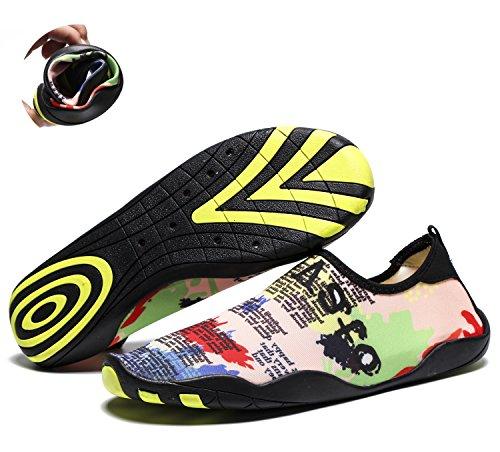 RENZER Wasserschuhe Leichte Schwimmhaut Aqua Socken Schuhe Slip-on für Strand Karte