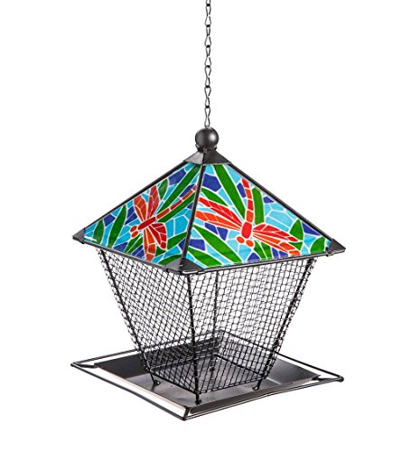 Metal and Ceramic Dragonfly Birdfeeder 7 sq. x 9.5 H, 17 H with ()
