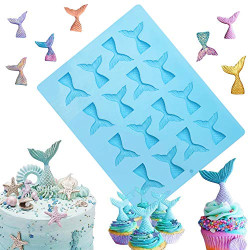 - Sakolla 16 Cavity Mermaid Tail Silicone Mold for Fondant, Cake Decoration, Chocolate, Soap, Candy, Jello, Cupcake Topper, Gumpaste, Clay, Ice, etc.