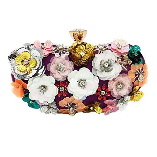 KCXUT Ladies Evening Bag Dinner Bag Pillow Flower Beaded Handbag Clutch Bag Chain Bag Female Retro Party Wedding (Color : Purple)