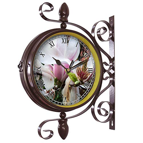 (Wrought Iron Antique-Round clock Wall Retro Station Chandelier Double Sided Wall Clock -360 Degree Quiet Grand Central Station Wall Clock463.Magnolia, Blossom, Bloom, Cup, Spring, Pink, Flower)