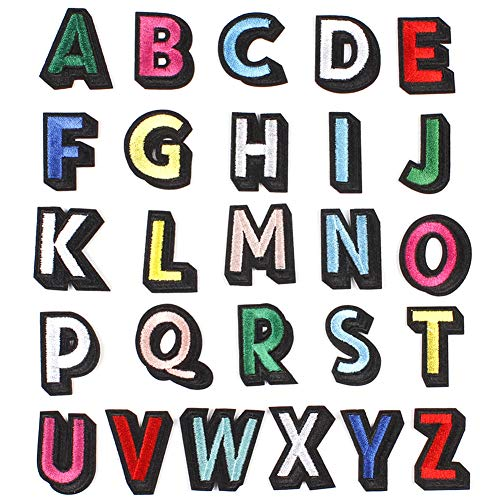 Colorful Letter Patches Alphabet Applique Patches Iron On/Sew On Embroidered Patches DIY A-Z Custom Name Patch Badge Sewing Repair Patches for Hats Shoes T-Shirt Bag Backpacks (26 PCS)