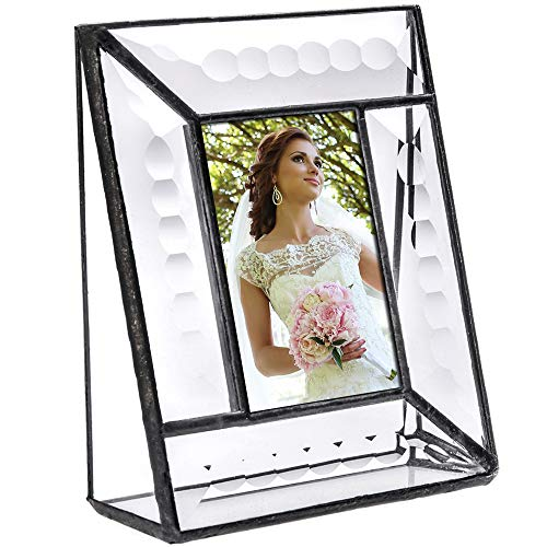 J Devlin Pic 112-23 Crystal Glass Picture Frame Beveled Glass Tabletop 2 x 3 Photo Frame Keepsake School Picture ()