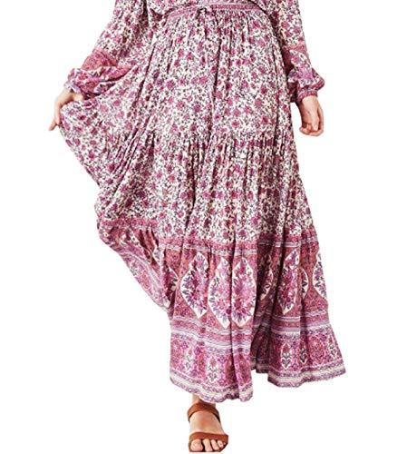 R.Vivimos Womens Summer Cotton Vintage Floral Print Boho Casual Long Skirt (Small, Pink-1)