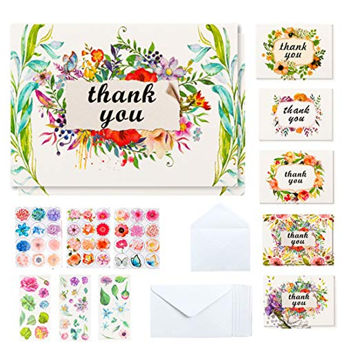 Thank You Cards, 36 Bulk Floral Thank You Notes Greeting Cards with 36 White Envelopes and 6 Bonus Stickers By Feela, Kids Thank You Card Perfect for Baby &Bridal Shower Wedding Graduation Anniversary