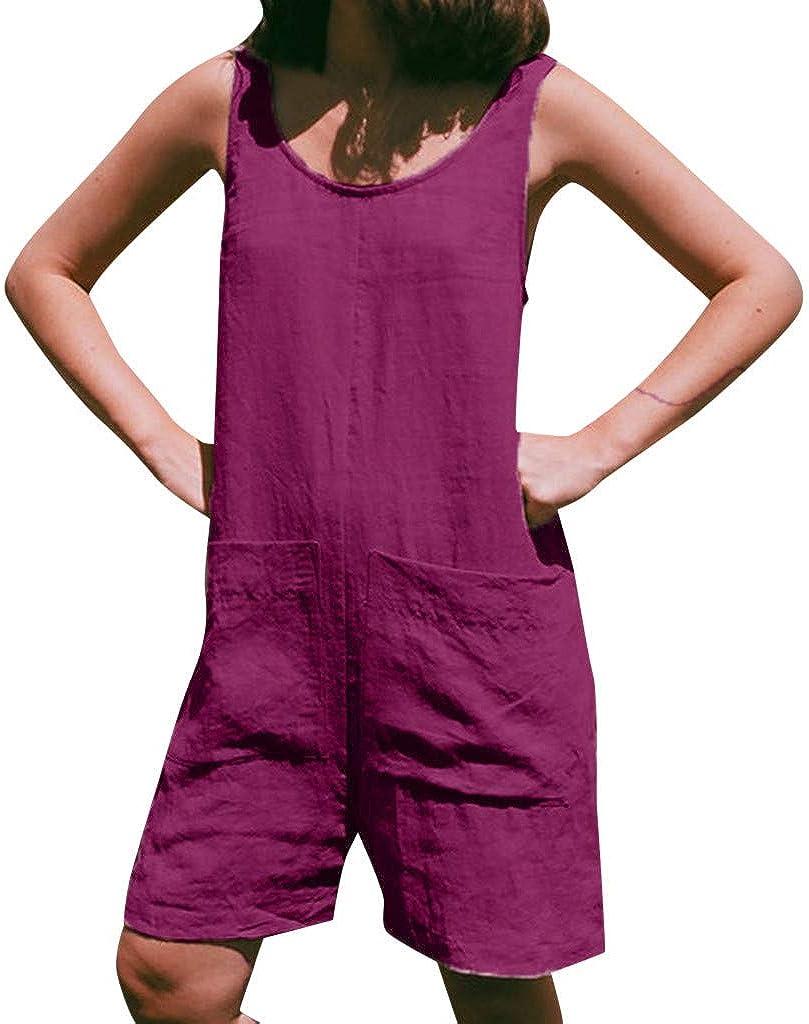 Jianekolaa Womens Sleeveless Short Jumpsuit Solid Loose Jumpsuit,Crew Neck One Piece Jumpsuit