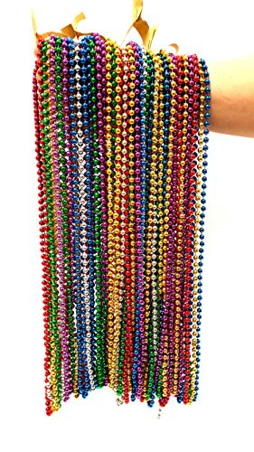 Festive Metallic Beaded Necklaces (Red, Blue, Silver, Green, Gold, Purple, 144 Piece -
