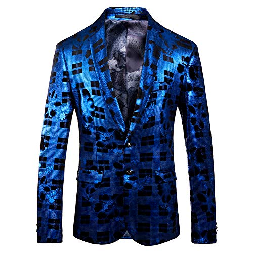 Blazer Party Affari Jacket Santimon Fit Casual Stampata Giacca Blu Slim Uomo xw080qzPY