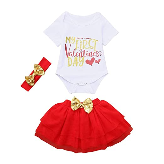 2c4afb1ff78 Amazon.com  My First Valentine Baby Outfit Newborn Girls Letter Short Sleeve  Romper Tutu Skirt Headband Clothes  Clothing