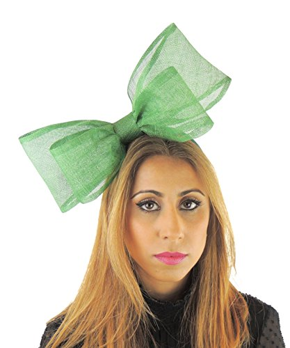 Hats By Cressida Ladies Sinamay Bow Ascot Fascinator Hat With Headband Apple Lime Green by Hats By Cressida