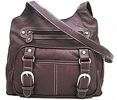 Concealed Carry Purse - Locking CCW Gun Compartment - Brown Leather
