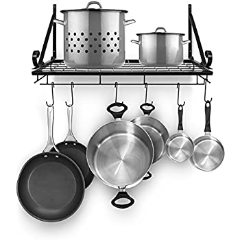 sorbus pots and pan rack decorative wall mounted storage hanging rack. Black Bedroom Furniture Sets. Home Design Ideas