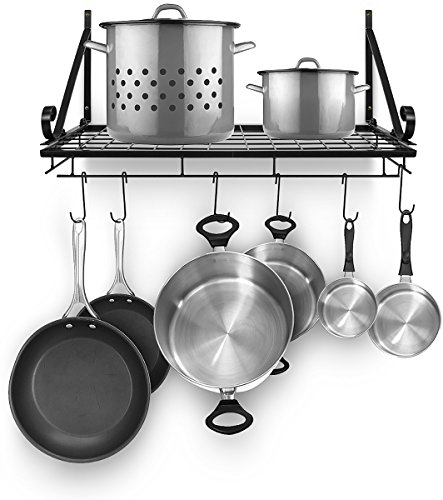 - Sorbus Pots and Pan Rack — Decorative Wall Mounted Storage Hanging Rack — Multipurpose Wrought-Iron shelf Organizer for Kitchen Cookware, Utensils, Pans, Books, Bathroom (Wall Rack - Black)