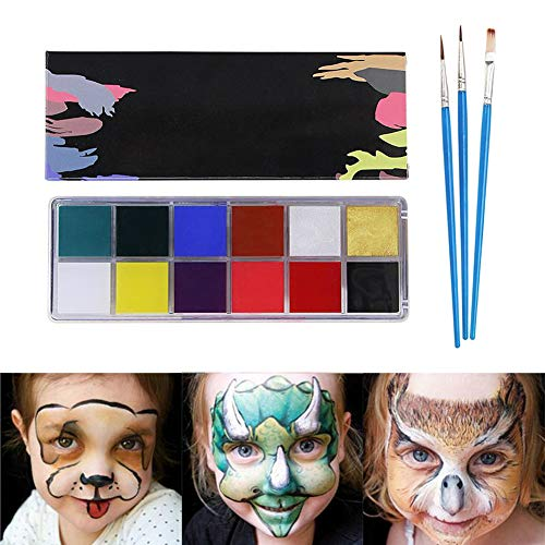 Face Paint Kit for Kids & Adult - 12 Color Body Paint Set Washable Paints. Safe Facepainting for Sensitive Skin, Professional Quality Body & Face Facepaints for Halloween, Cosplay, Masquerade