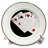 3dRose Alexis Photo-Art - Poker Hands - Poker Hands Straight Six to Two - 8 inch Porcelain Plate (cp_270320_1)