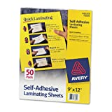 Janitorial Supplies Avery 73601 Self-Adhesive Laminating Sheets, 9''x12'', 50/BX, Clear