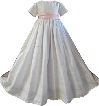 7486e799e ShineGown Christening Gown of Baby Boys Girls Baptism Outfit with Bonnet Short  Sleeves 0-24months White Ivory: Amazon.co.uk: Clothing