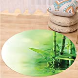 VROSELV Custom carpetAsian Decor Bamboo Stalks Reflection On Water Blurs Freshness Japanese Decorative Zen Spa Bedroom Living Room Dorm Decor Round 72 inches