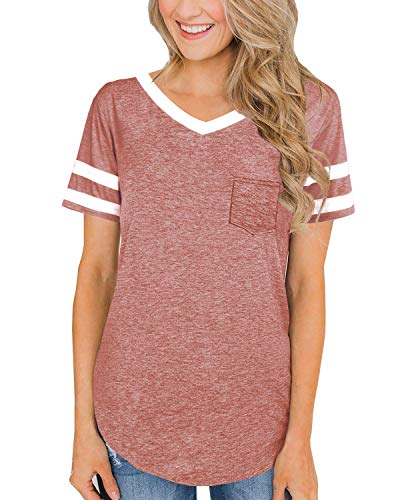 Cute Summer Tshirts for Women Cotton Short Sleeve Tee Shirts V Neck Fashion Tops Pink 2XL