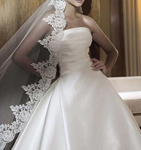 Frauen Linie Brautkleider A aermel BRIDE Satin Elfenbein Hochzeitskleider Lace Dreiviertel GEORGE OqYB5B