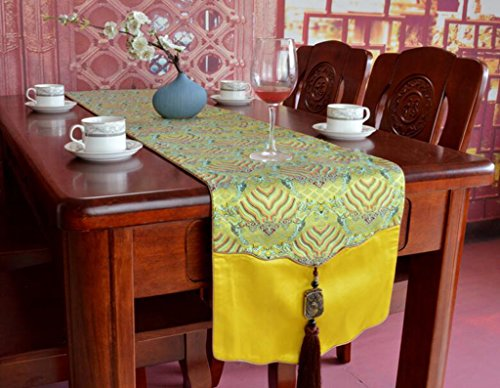 BiuTeFang Table Runner Table Runners Modern, classical, silk, jade pendant, table flag Banquet Party Decoration -