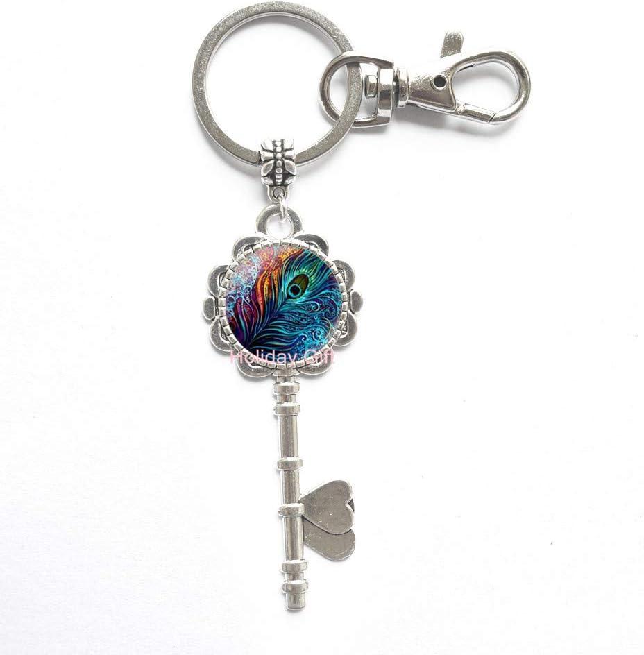 Peacock Key Fob Preppy Key Chain  Party Theme Key Fob  Peacock Leather Key Chain Key Ring