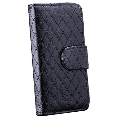Apple iPhone SE / 5S / 5 | iCues sac à rabat noir matelassé | [Protecteur d'écran, y compris] cuir - faux livre charnière étui protecteur poche téléphone portable poche pour ouvrir Flip Case Cover Liv