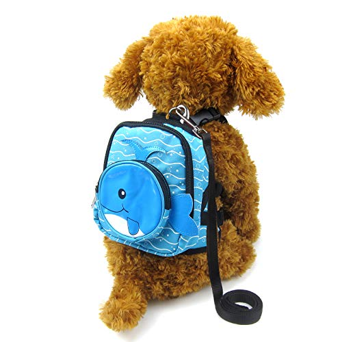 Alfie Pet - Oliga Backpack Harness with Leash Set - Color: Blue Whale, Size: Medium