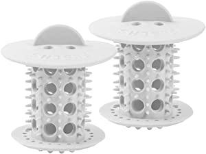 Tub Drain Hair Catcher, 2PCS Bathtub Shower Hair Strainer/Snare/Trap TPR Standard Drain Protector for Bathroom Plug Cover Support Drain Size from from 1.5inch to 1.75inch(White)