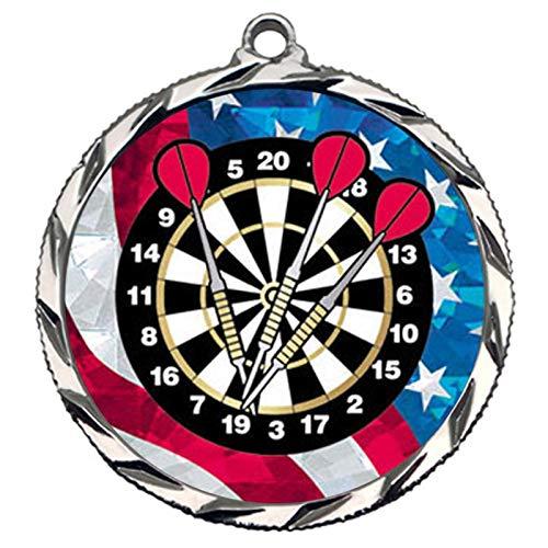 シルバーセカンドプレイスダーツメダル ネックリボン付き Award022 B07HL7WSGD  1