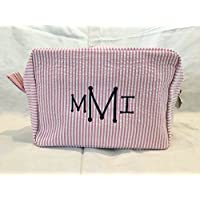 Pink and White Seersucker Make Up Bag, Custom Cosmetic Bag, Personalized Cosmetic Bag