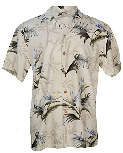 Aloha Bamboo Paradise - Men's Hawaiian Print Aloha Shirt - Cream - X-Large