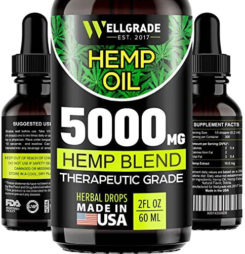 Hemp Oil for Anxiety Relief - 5000 MG - Premium Seed Grade - Natural Hemp Oil for Better Sleep, Mood & Stress - Improve Health - Vitamins & Fatty Acids - Made in The USA