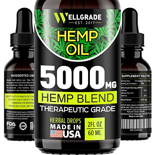 Hemp Oil for Anxiety Relief - 5000 MG - Premium Seed Grade - Natural Hemp Oil for Better Sleep, Mood & Stress - Improve Health - Vitamins & Fatty Acids - Made in The USA ()