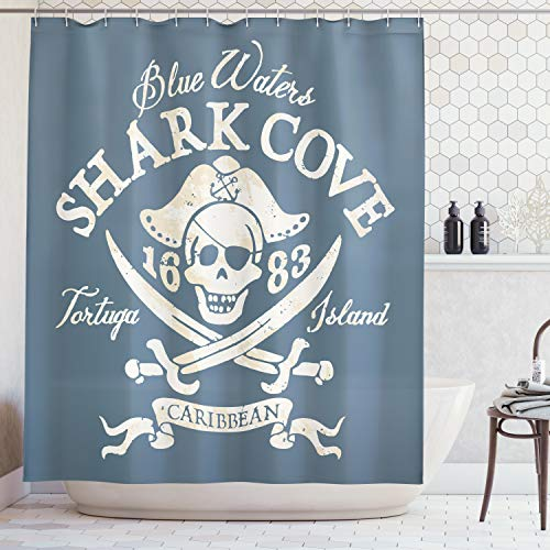 Ambesonne Pirate Shower Curtain by, Shark Cove Tortuga Island Caribbean Waters Retro Jolly Roger, Fabric Bathroom Decor Set with Hooks, 75 Inches Long, Slate Blue White Light Mustard -