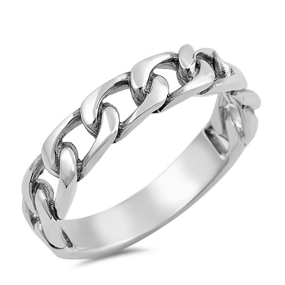 Cute Jewelry Gift for Women in Gift Box Glitzs Jewels 925 Sterling Silver Ring Chain Link