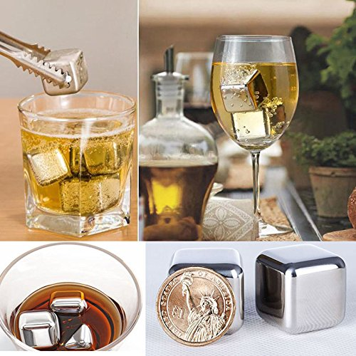 GeoBIX(TM) 4pcs/lot Whiskey Stones Ice Cubes Stainless Steel Soapstone Glacier Cooler Stone ping by GeoBIX (Image #4)