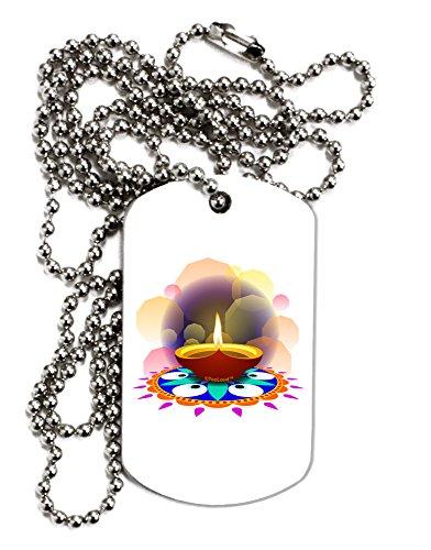 TooLoud Festive Diya and Rangoli Adult Dog Tag Chain Necklace - 1 Piece by TooLoud