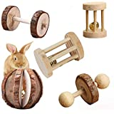 Aptech 5Pcs Hamster Chew Toys, Natural Wooden Chew Toys Pets Teeth Care Molar Ball for Small Animals Cat Rabbits Rat…