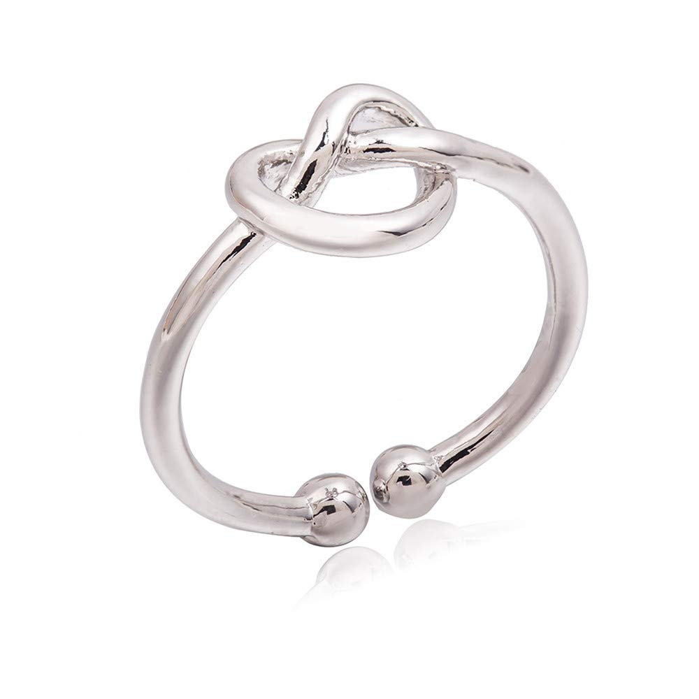BOOBODA Knotted Love Open Ring Retractable Ring Temperament Simple Lady Ring(Silver,Adjustable)