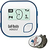 BUNDLE: 2017 Golf Buddy Voice 2, Blue + Custom Ball Marker and Hat Clip - American Eagle