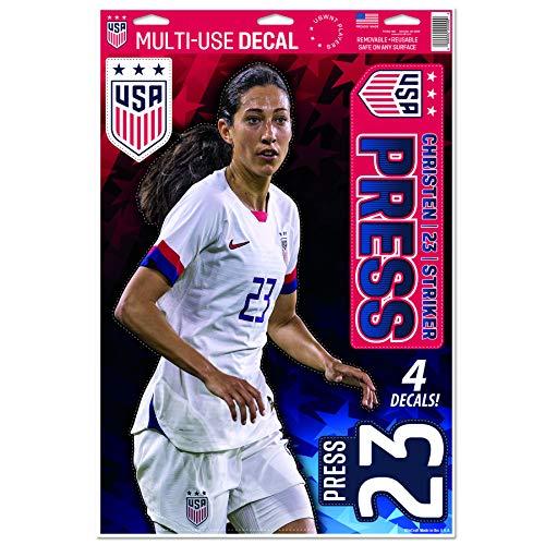 US Soccer Christen Press | Set of 4 Licensed Decals 2019 | The Poster Alternative
