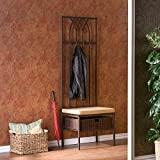 Upton Home Ovilla Hall Tree Entry Bench with Rattan Basket Storage and Metal Coat Rack