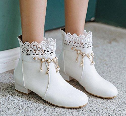 Aisun Dentelle Bottines Blanc Franges Low Chic Femme Strass Boots qqwHz4fnT