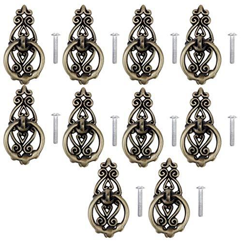 10Pcs Antique Bronze Knob Door Bin Dresser Wardrobe Drop Ring Pull Handle