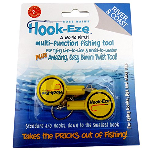 Hook-Eze Fishing Tool (Yellow) Hook Tying & Safety Device + Line Cutter - Cover Hooks on 2 Poles & Travel Safely fully rigged. Multi function Fishing Device.