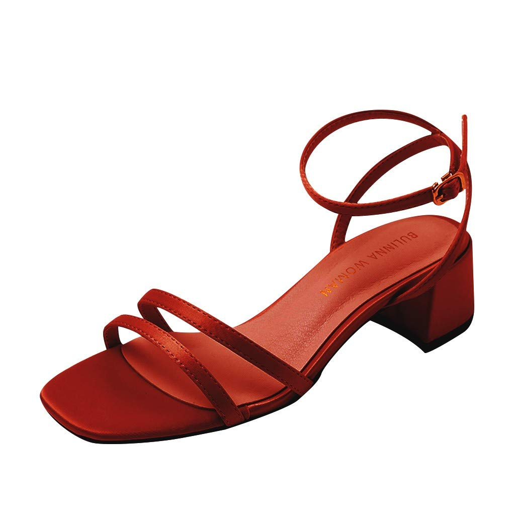 Fastbot Women's Summer Sandals Open Toe Casual Comfort  Ladies Rome Retro Solid Square Toe Heel Beach Shoes Wine